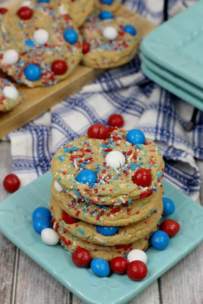 Stack of Fourth of July cookies with red, white, and blue M&Ms