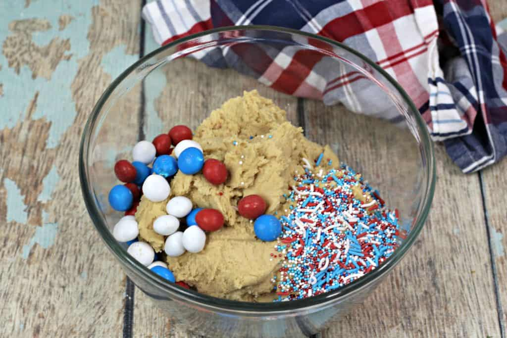 Ingredients for red, white, and blue Fourth of July cookies with M&Ms