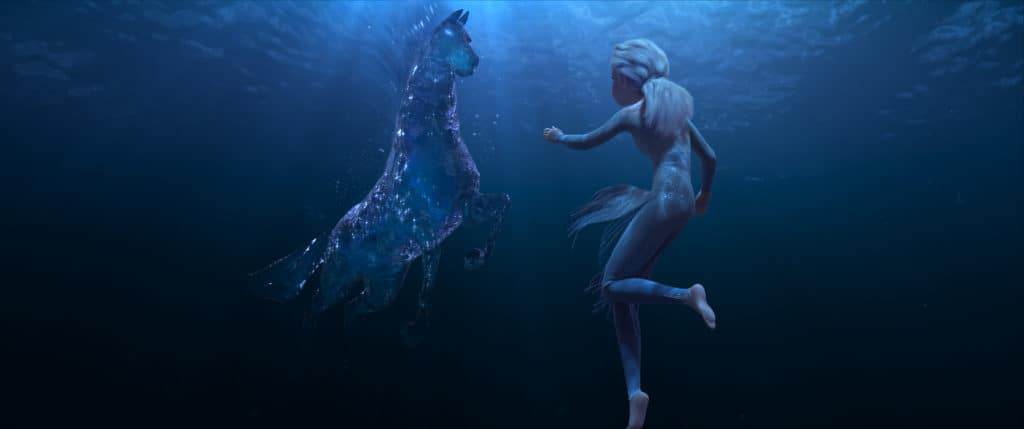 Frozen 2 trailer image with Elsa and Nokk - a mythical water spirit