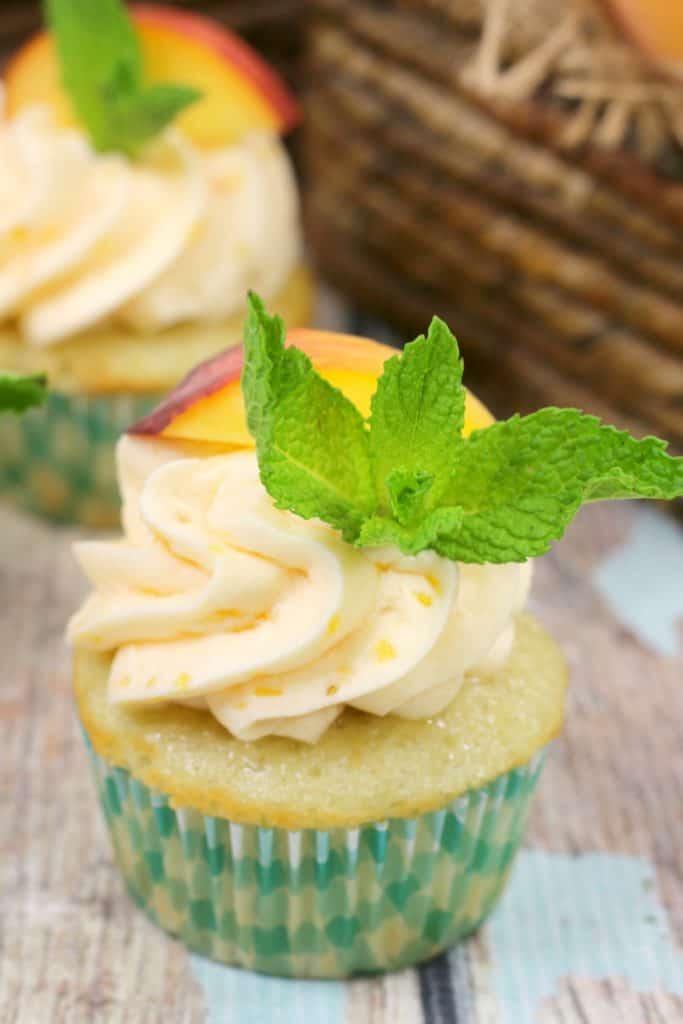 Closeup of Peach Cupcakes
