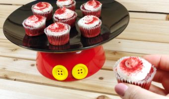 This adorable Mickey Mouse inspired DIY only takes 15 minutes to make! Use the dessert pedestal to display cupcakes and cookies at your next Disney-themed party.