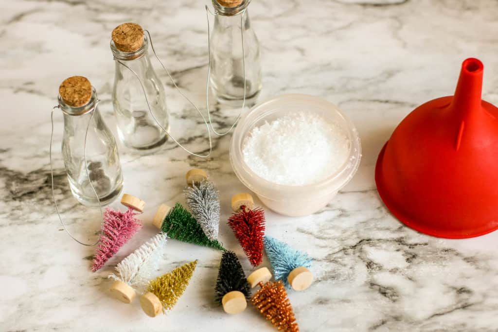 Christmas Tree in a bottle ornament DIY supplies