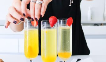 You won't believe how easy it is to make this Prosecco Passion Fruit Mimosa. You can also make a non-alcoholic version with this recipe.