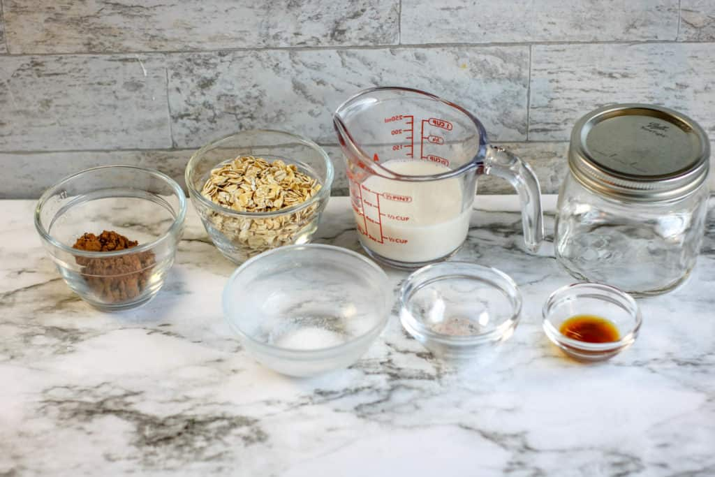 Brownie batter overnight oats ingredients