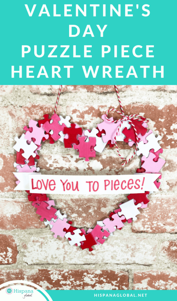 Upcycle your old puzzles with this lovely DIY. Here's how to make a heart wreath with puzzle pieces to decorate your home for Valentine's Day!