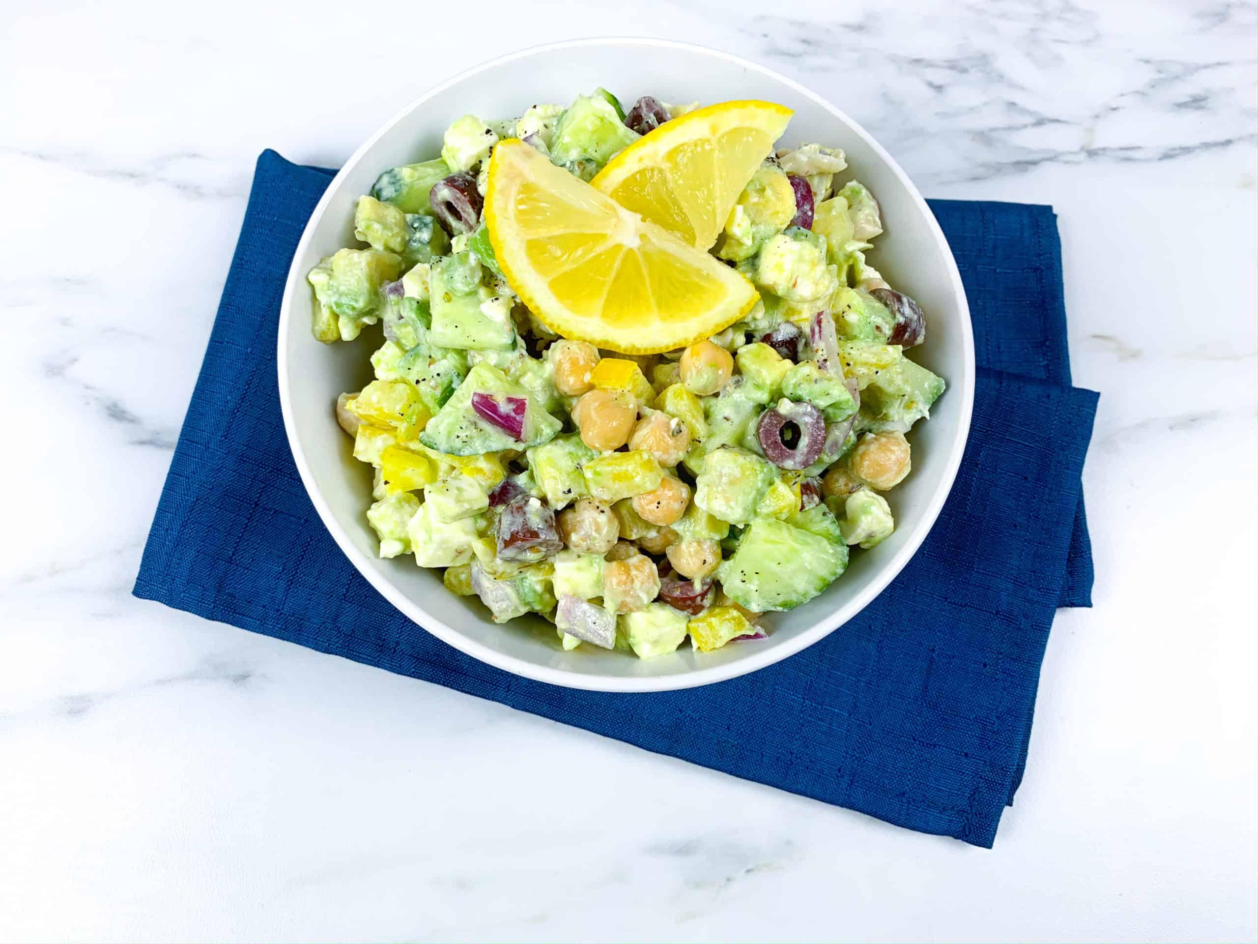 Healthy avocado, chickpeas, feta, and cucumber salad recipe