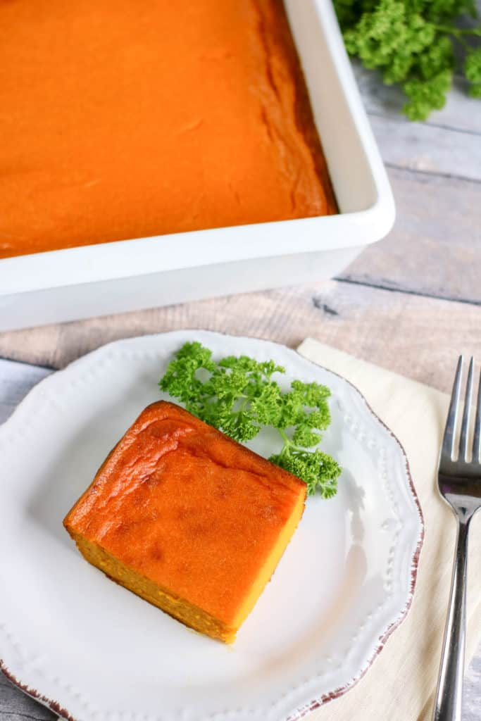 This easy carrot souffle is the perfect vegetarian side dish. Make it in just minutes if you have extra carrots.