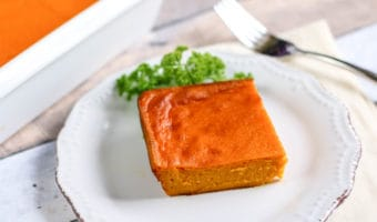 This easy carrot souffle is the perfect vegetarian and gluten-free side dish. It is flourless and can also be made for Passover.