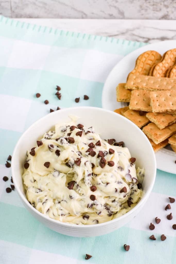 You won't believe how easy it is to make this edible chocolate chip cookie dough dip recipe in less than five minutes. Yum!