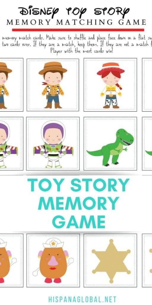 This printable Toy Story memory game features 8 of your favorite characters and includes 16 memory cards to play with.
