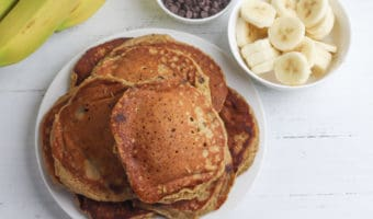 Peanut butter, banana and chocolate chip pancakes recipe that kids love