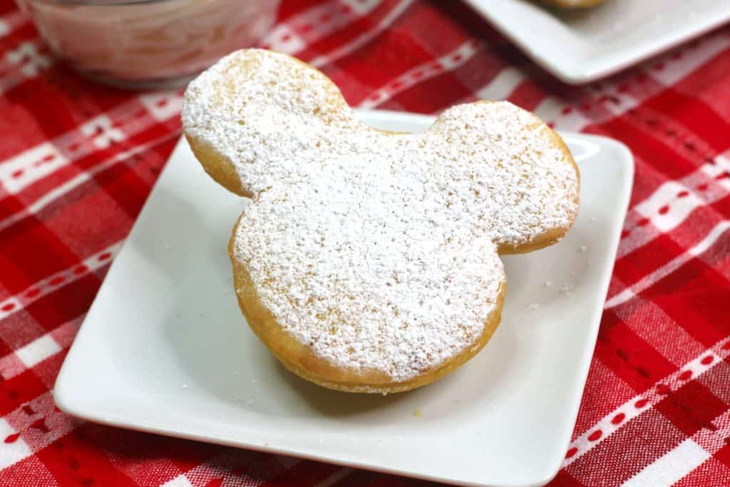 This delicious recipe shows you how to make homemade Mickey Mouse beignets. They are so good!