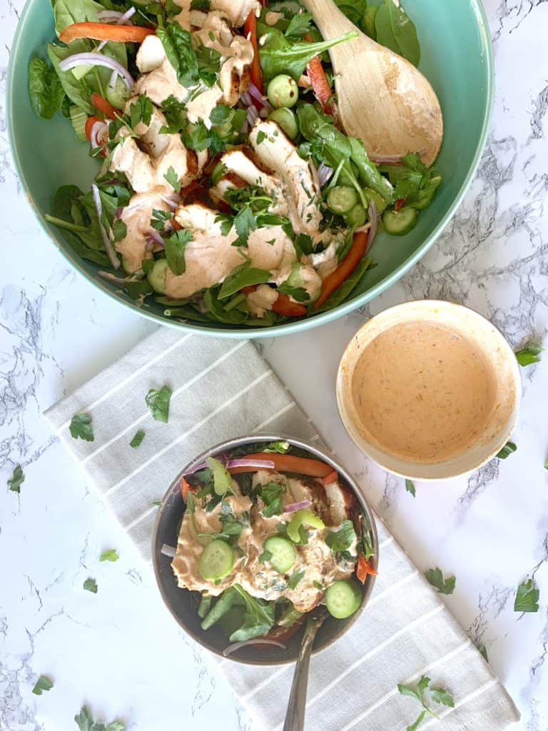 This healthy buffalo chicken salad has a little kick that only enhances how delicious it is. Here's how to make it in minutes!