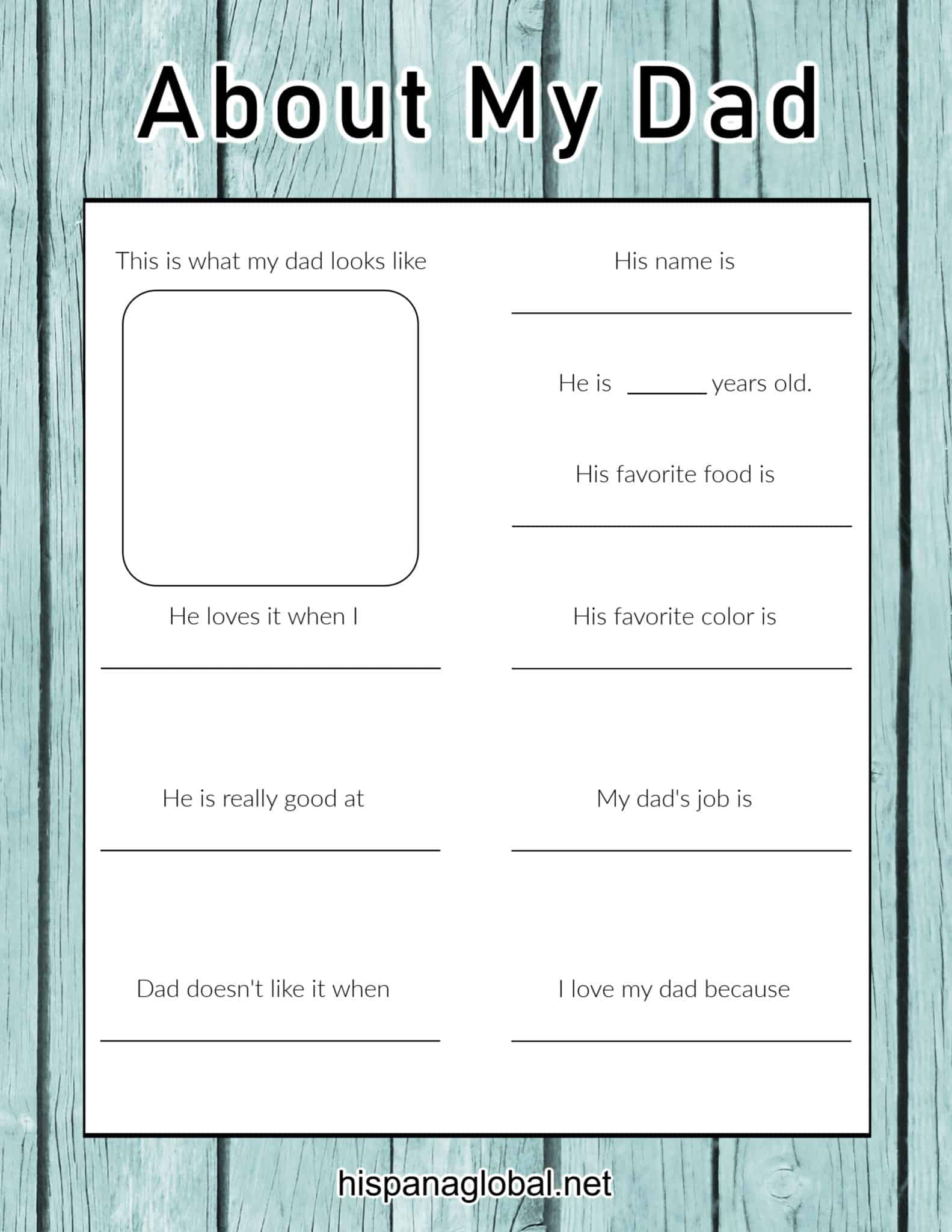 Fathers Day About My Dad printable activity sheet