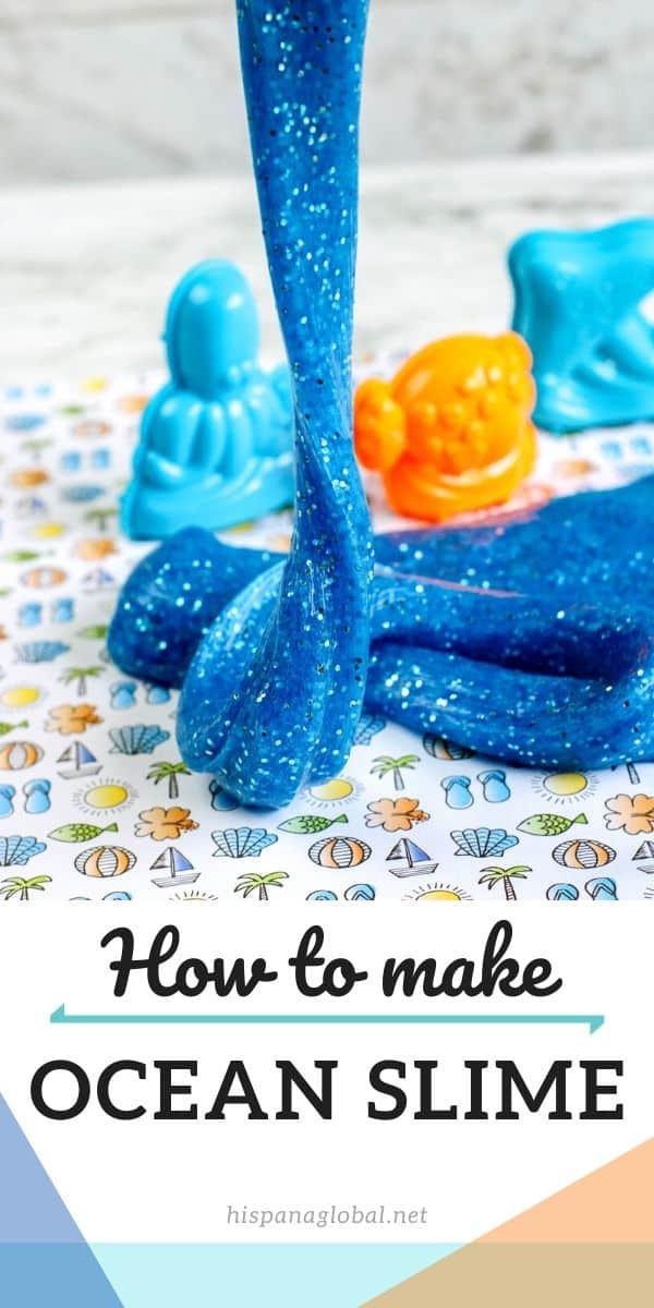 Beautiful and sparkly blue ocean slime DIY