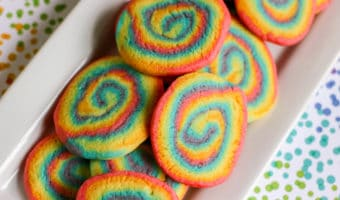 Delicious and colorful rainbow swirl sugar cookies