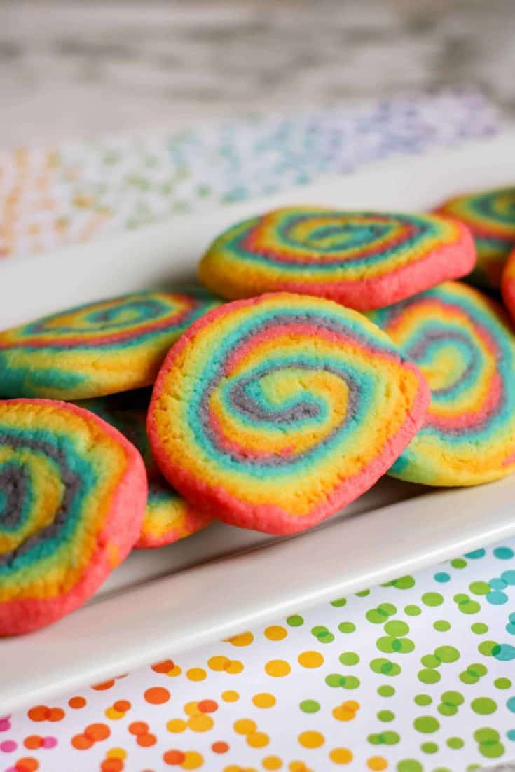 These delicious rainbow sugar cookies are colorful and are perfect for your next unicorn-themed or Pride party.
