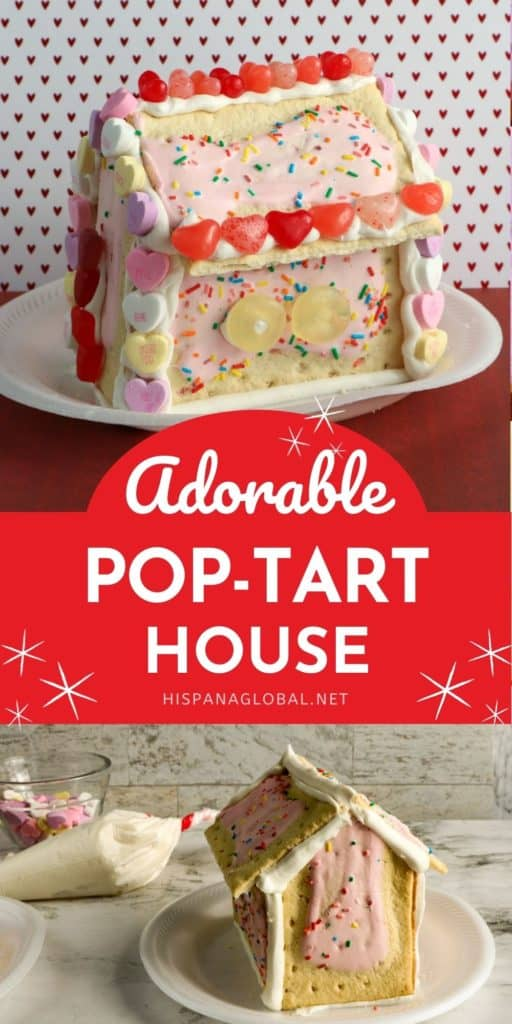 Learn how to make this yummy and adorable pop-tart house for Valentine's Day. It looks so beautiful on any table and is a great homemade gift.
