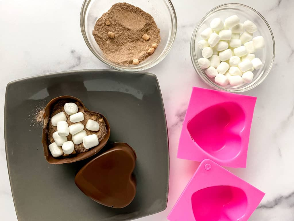 Heart shaped hot cocoa bombs