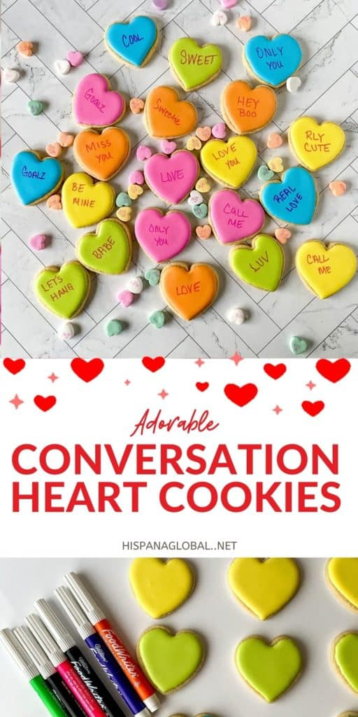 These adorable conversation heart cookies are so easy to make. They're perfect for bridal showers, anniversaries, proposals or Valentine's Day!